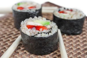 Salmon, Avocado and Cucumber Quinoa Sushi